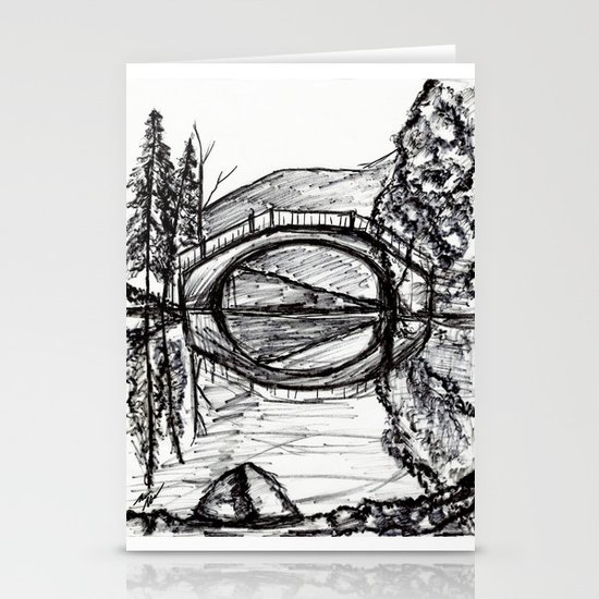 Bridge Reflection Marker Black white drawing Stationery Cards