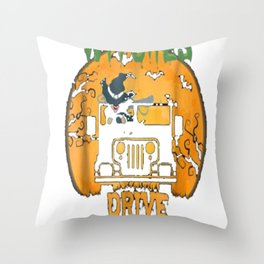 Not All Witches Drive Broom Stick Funny Halloween T-shirt Throw Pillow