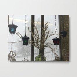 Lanterns in the Snow Metal Print