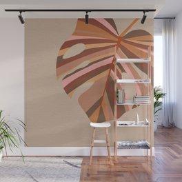 Monstera Leaf - Earthy,Terracotta & Pink Wall Mural
