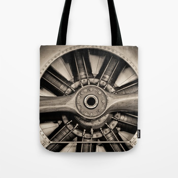Aviation Decor Vintage Propeller Airplane Art Tote Bag By Vibrantimaging