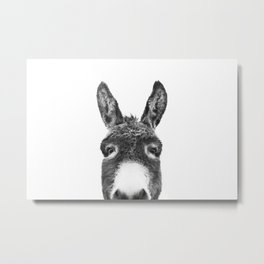 Hey Donkey BW Metal Print