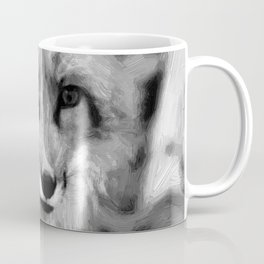 red fox dog abstract digital oil painting canvas black white Coffee Mug