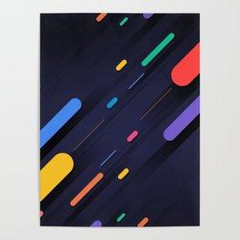 Multicolor shapes on black backround Poster