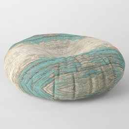 Rustic Wood - Weathered Wooden Plank - Beautiful knotty wood weathered turquoise paint Floor Pillow