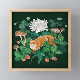 Strawberry Fox Framed Mini Art Print