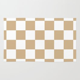 Checkered - White and Tan Brown Rug
