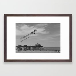 Flying Kites At The Huntington Beach Pier Framed Art Print