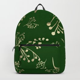 Holiday Flourishes in Digital Gold Foil Design on Green Backpack