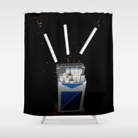 cigarettes Shower Curtains featuring Cigarettes by Courtney Decker