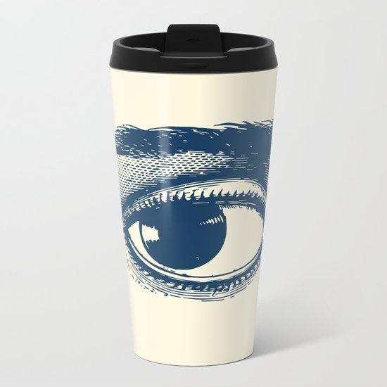 I see you. Navy Blue on Cream Metal Travel Mug