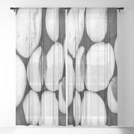 Zen White Stones On A Black Background #decor #society6 #buyart Sheer Curtain