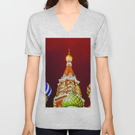 Saint Basil's Cathedral Domes Against The Red Night Sky Unisex V-Neck