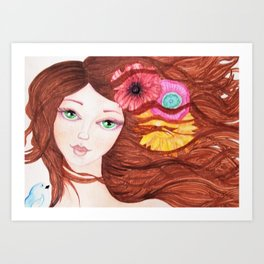 Green eyed girl with bird Art Print