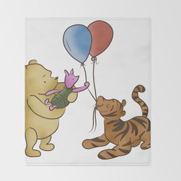 Pooh and Friends with Balloons (White/Transparent) Throw Blanket