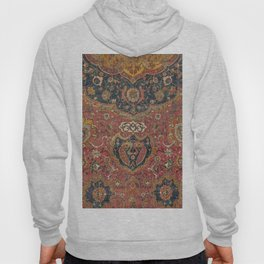 Persian Medallion Rug I // 16th Century Distressed Red Green Blue Flowery Colorful Ornate Pattern Hoody