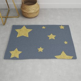 Golden stars on the blue fabric Rug
