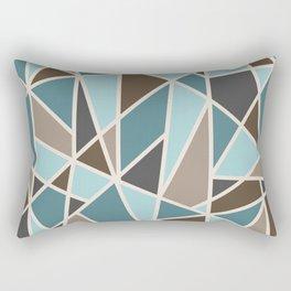Geometric Design in Teal, Brown and Tan Rectangular Pillow