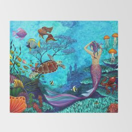 A Fish of a Different Color - Mermaid and seaturtle Throw Blanket