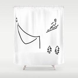 ski jumper digs ski jumping fly Shower Curtain