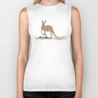kangaroo Biker Tanks featuring Kangaroo by Emma Traynor