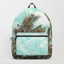 Wild and Free Vintage Palm Trees - Kaki and Turquoise Backpack