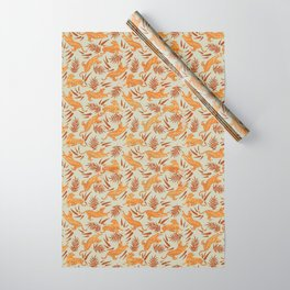 Vintage Golden Tigers Pattern / Big Cats, Leaves, Nature Wrapping Paper
