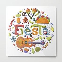 Mexico - Fiesta - Taco & Tequila - light Metal Print