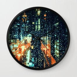 It's raining on the streets of New York City Wall Clock