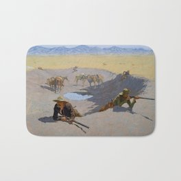 "Frederic Remington Western Art ""Fighting for the Waterhole"" Bath Mat"