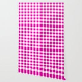 Magenta and White Check Wallpaper