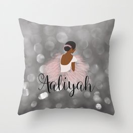 African American Ballerina Dancer Personalized Name AALIYAH Throw Pillow