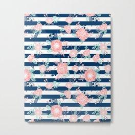 Florals bouquet navy stripe modern classic pattern print nautical preppy chic kids children college  Metal Print