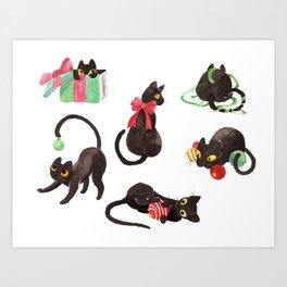 Holiday Cats Art Print