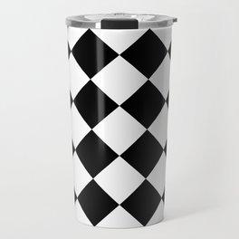 Large Diamonds - White and Black Travel Mug