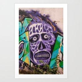 mural image of a zombie skull Art Print