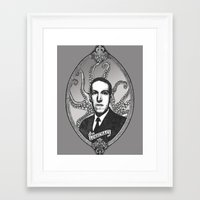 lovecraft Framed Art Prints featuring H.P. Lovecraft by Studio Nil