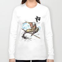 the last airbender Long Sleeve T-shirts featuring Aang from Avatar the Last Airbender sumi/watercolor by mycks