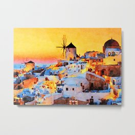 Sunset at MyKonos Metal Print