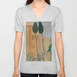 Amedeo Modigliani - Cypresses and Houses at Cagnes Unisex V-Neck