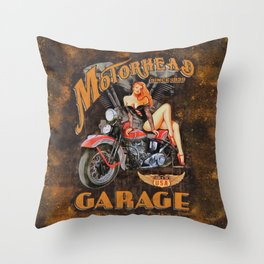 Motorhead Garage Vintage Poster Throw Pillow