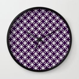 Purple and white interlocking circles Wall Clock