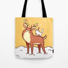 Reindeer and Kitten Tote Bag
