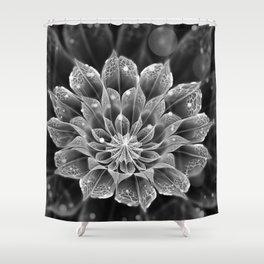 BnW Fractal Dahlia Flower via Electron Microscope Shower Curtain