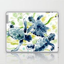 Sea Turtles , Indigo Blue Olive green Turtle art Laptop & iPad Skin