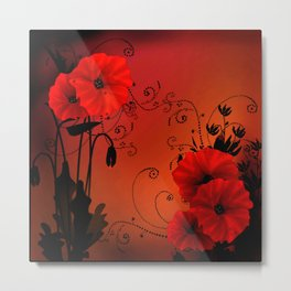 Poppy flowers, sunset Metal Print