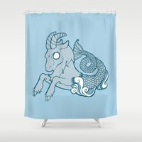 capricorn Shower Curtains featuring Capricorn by rebecca miller