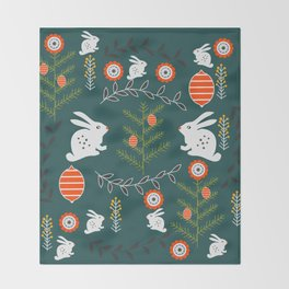 Winter holidays with bunnies Throw Blanket