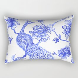 Chinoiserie Peacock Rectangular Pillow