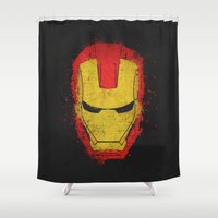 engineer Shower Curtains featuring Iron Man splash by Sitchko